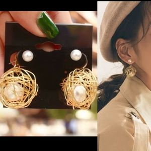 New Gold web wire pearl white stud gold earrings